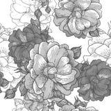 Beautiful Monochrome Seamless Rose Background Royalty Free Stock Photos