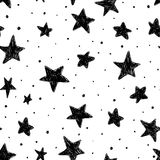 Beautiful monohrome black and white seamless sky pattern with textured stars, hand drawn. Beautiful monohrome black and white seamless sky pattern with textured Stock Images
