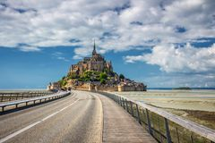 Beautiful Mont Saint Michel cathedral on the island, Normandy, N. Orthern France, Europe stock photography