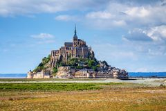 Beautiful Mont Saint Michel cathedral on the island, Normandy, N. Orthern France, Europe royalty free stock images