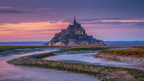 Beautiful Mont Saint Michel cathedral on the island, Normandy, N. Orthern France, Europe royalty free stock photos