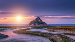 Free Beautiful Mont Saint Michel Cathedral On The Island, Normandy, Northern France, Europe Royalty Free Stock Image - 163681056