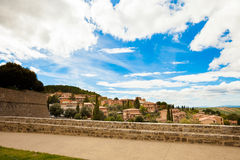 Beautiful Montalcino in Tuscany view Stock Photos