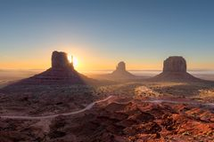 Beautiful Monument valley at sunrise in Arizona Royalty Free Stock Photos