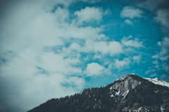 Beautiful moody frosty landscape European alpine mountains w Royalty Free Stock Photography