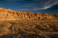 Beautiful moody landscape of Cathedral Gorge State Park at sunset in Nevada. USA Stock Photo