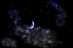 The beautiful moon. The moon at the night sky Royalty Free Stock Photos