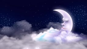 Beautiful moon cartoon on clouds  night stars  night fantasy  loop animation background.
