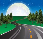 Landscape road Beautiful moon rising, highways road in rural scene. Beautiful moon rising on sky over the horizon. Asphalt road with lines, highway in rural Royalty Free Stock Photos