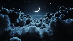 Beautiful Moon in the Skies. Flying Over the Infinite Clouds with the Night Moon Shining Seamless. Looped 3d Animation