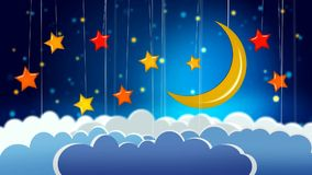 Beautiful moon, stars and clouds, best video background to put a baby to sleep, calming relaxing