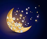 Beautiful moon and stars night vector illustration. Beautiful moon and shining stars night vector illustration Stock Illustration