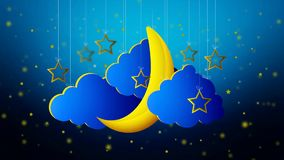 Beautiful moon stars vector, best looped video background to put a baby go to sleep, calming relaxing