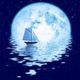 Beautiful moonlight. Beautiful full moon under ocean with sailing ship