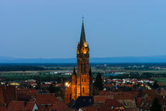 Beautiful moonrise over the church, Alsace Stock Photography