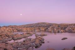 Beautiful Moonrise at Watson Lake Royalty Free Stock Image