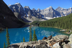 Beautiful Moraine Lake stock images