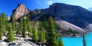 Beautiful Moraine Lake in Canada. Famous Moraine Lake of Banff National Park in Alberta, Canada Royalty Free Stock Photo