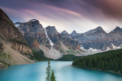Beautiful Moraine Lake - Long exposure version Royalty Free Stock Photo