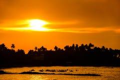 Beautiful morning on the beach in Sri Lanka. Hot landscape. Royalty Free Stock Photography