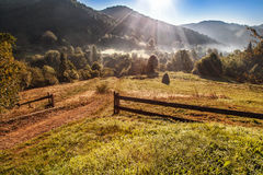 Beautiful morning in Carpathian mountains. the sun`s rays make t. Heir way through the forest and mountains Royalty Free Stock Image