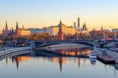 Beautiful Morning city landscape with view on Moscow Kremlin and reflections in waters of Moskva river royalty free stock photos