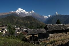 Beautiful morning in Ghandruk Stock Photos