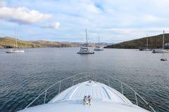 Beautiful morning in Kolona double bay Kythnos island, Cyclades, Greece. Travel destinations September 2018. Horizontal stock photography