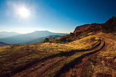 Beautiful morning landscape in the autumn mountain Royalty Free Stock Photos