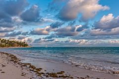 Sunrise on the Atlantic ocean. Beautiful morning landscape with clouds during sunrise in Punta Cana. Dominican Republic Stock Photo