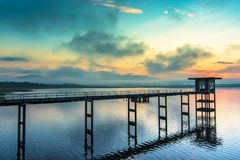 Chonburi, Thailand. Beautiful morning landscape Pier Bang Phra Reservoir Chonburi, Thailand Royalty Free Stock Images