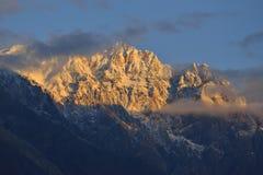 Beautiful morning light on mountain in Northern Pakistan. Stock Photos