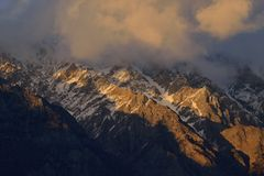 Beautiful morning light on top of mountain in Northern Pakistan. Royalty Free Stock Photo