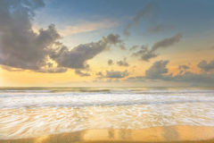 Beautiful morning long exposure seascape. With motion waves and gray cloud stock photography