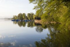 Beautiful morning mood with boats on Lake Sempach in Switzerland Royalty Free Stock Photos