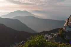 Beautiful morning on Mount Sibayak royalty free stock images