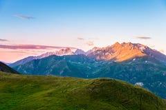 Beautiful morning over mountains Stock Photos