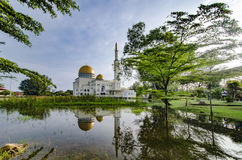 Beautiful morning scenery of As-Salam Mosque located in Selangor, Malaysia with reflecton on the lake. stock images