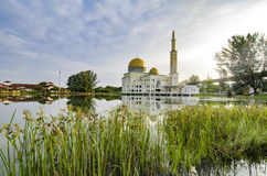 Beautiful morning scenery of As-Salam Mosque located in Selangor, Malaysia with reflecton on the lake. royalty free stock photography