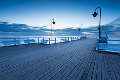 Beautiful morning seascape with wooden pier Royalty Free Stock Image