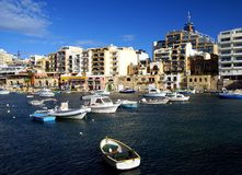 Beautiful morning at Spinola Bay, St Julian's ,  Malta. Stock Image