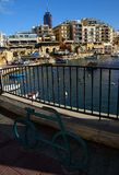 Beautiful morning at Spinola Bay, St Julian's ,  Malta. ST' JULIAN' S , ISLAND OF MALTA - NOVEMBER 18, 2014. Beautiful morning at Spinola Bay, St Julian's Royalty Free Stock Photography