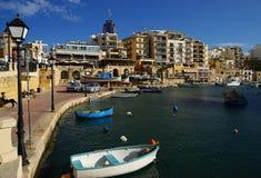 Beautiful morning at Spinola Bay, St Julian's ,  Malta. Royalty Free Stock Photo