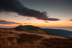 Beautiful morning sunrise in czech mountain krkonose Stock Images