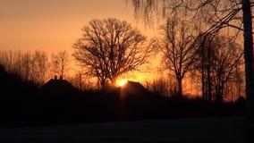 Beautiful  morning sunrise in old village. Beautiful early morning sunrise in old village stock video