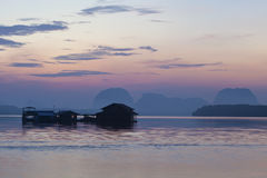 Beautiful morning sunrise over sea and mountain in phang - nga t Stock Photography
