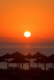 Beautiful morning sunrise in Roquetas del Mar in Spain stock photography