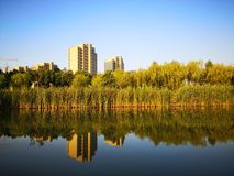 The morning view of wuhu City. The beautiful morning view of wuhu city which taken in the center part stock photography