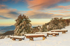 Beautiful morning and winter landscape,Carpathians,Transylvania, Royalty Free Stock Photo