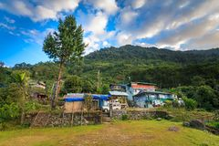 A beautiful morning in Yuksom. A beautiful village in western Sikkim which is a gateway/base camp for trekking in the Kanchenjunga national park Royalty Free Stock Images